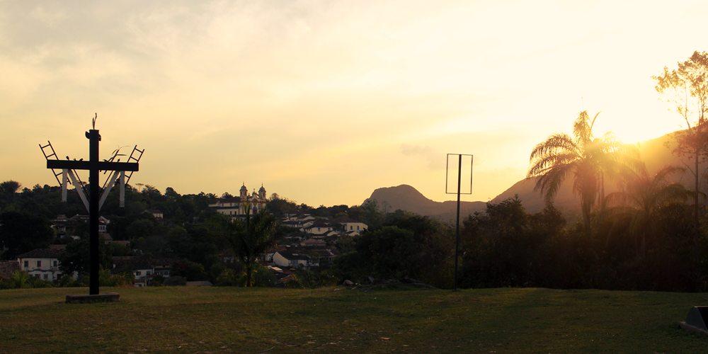 Pôr do sol visto da Igreja São Francisco de Paula, em Tiradentes