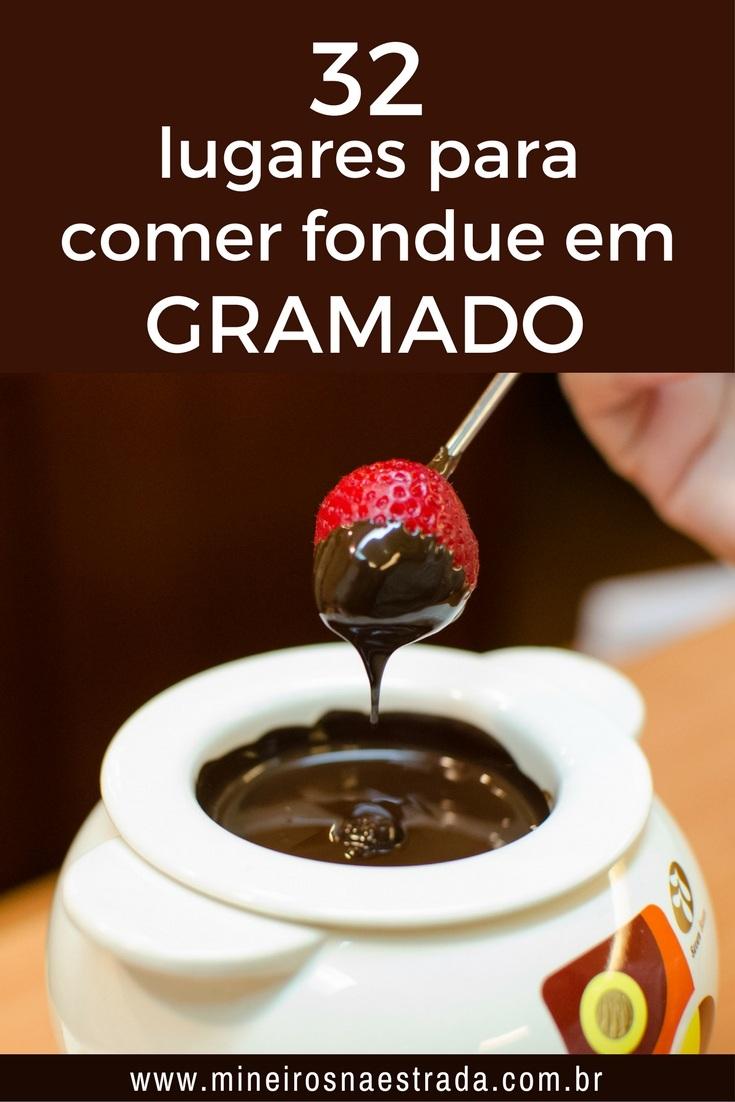 32 opções de restaurante que servem sequência de fondue em Gramado (carne, queijo e chocolate), separados por faixa de preço.