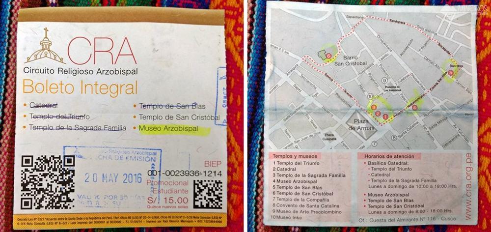 Boleto religioso de Cusco, bilhete que permite a entrada a várias igrejas.