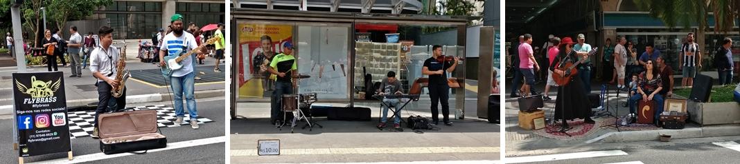 Vários grupos musicais, de diferentes estilos, se apresentam na Paulista Aberta.