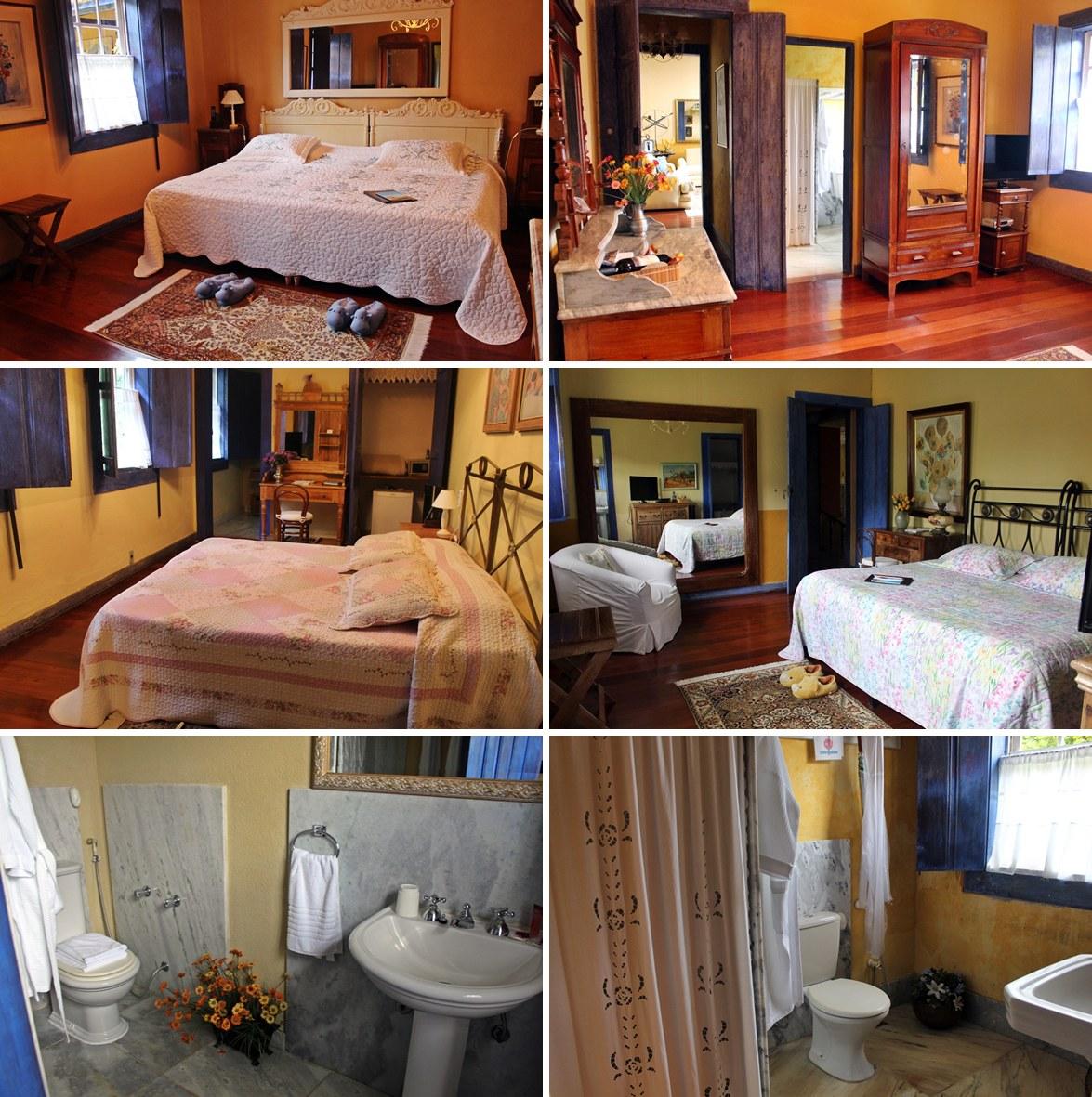 Quartos e banheiros da Casa Sede, na Fazenda Santa Marina, todos com mobília de época.