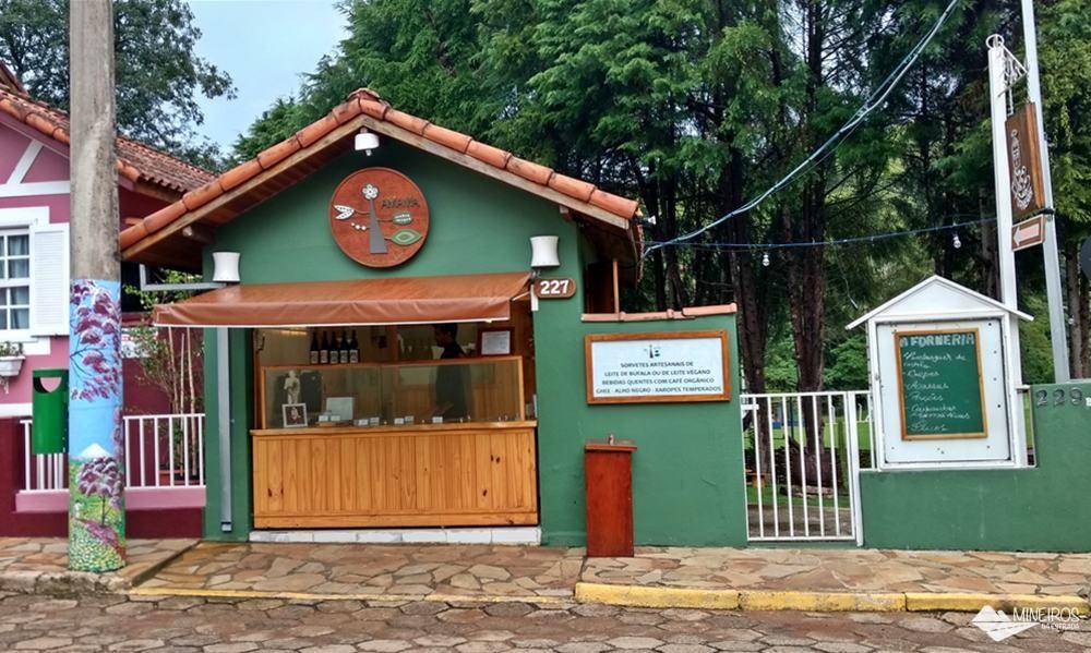 Amama, sorveteria artesanal e orgânica, no centro de Gonçalves, sul de Minas Gerais.