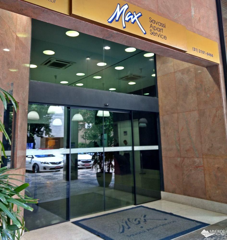 Fachada do Max Savassi Apart Service, excelente opção de hospedagem em Belo Horizonte.
