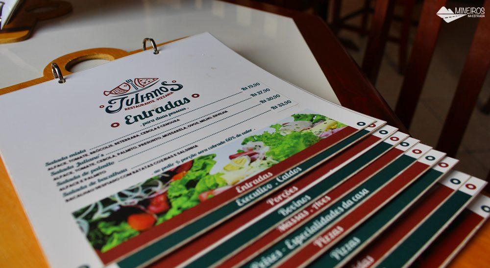 Cardápio do Restaurante Juliano's, superfamoso em Itanhandu, sul de Minas Gerais.