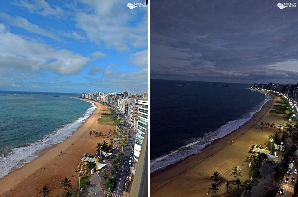 Vista diurna e noturna da Praia da Costa, de um quarto luxo do Quality Suítes Vila Velha,