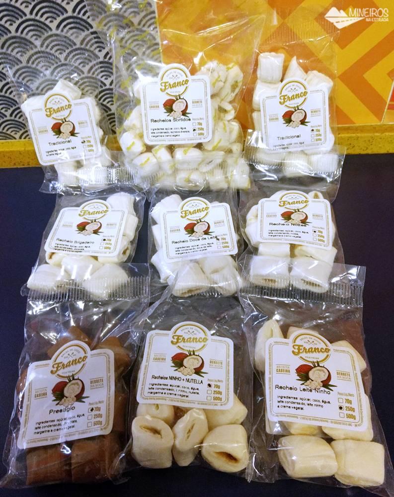 Balas de coco Franco, fabricadas em Vila Velha. Receita caseira, produtos de qualidade, balas de derretem na boca.