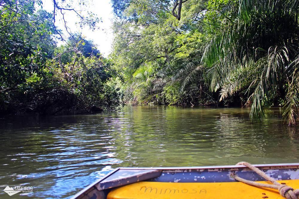 No passeio pelas trilhas e cachoeiras da Estância Mimosa, parte do trajeto é feita de barco.