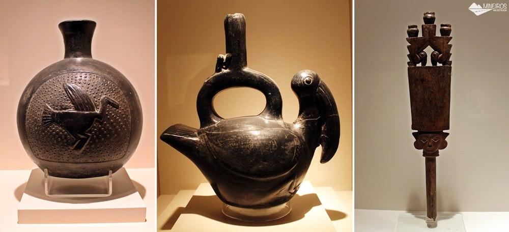Objetos da sala Chancay-Chimu, expostos no Museu de Arte Precolombino, em Cusco.