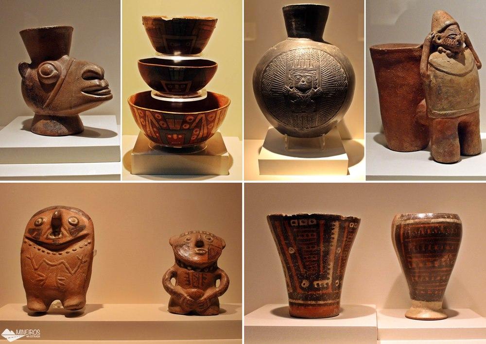 Objetos da Sala Huari, expostos no Museu de Arte Precolombino, em Cusco.