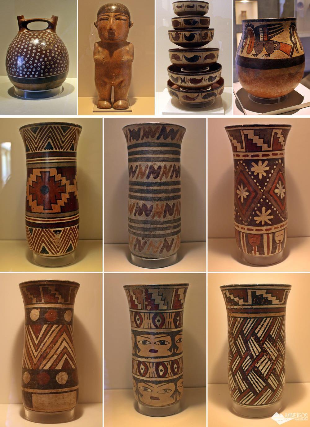 Vasos do povo nasca, expostos no Museu de Arte Precolombino, em Cusco.