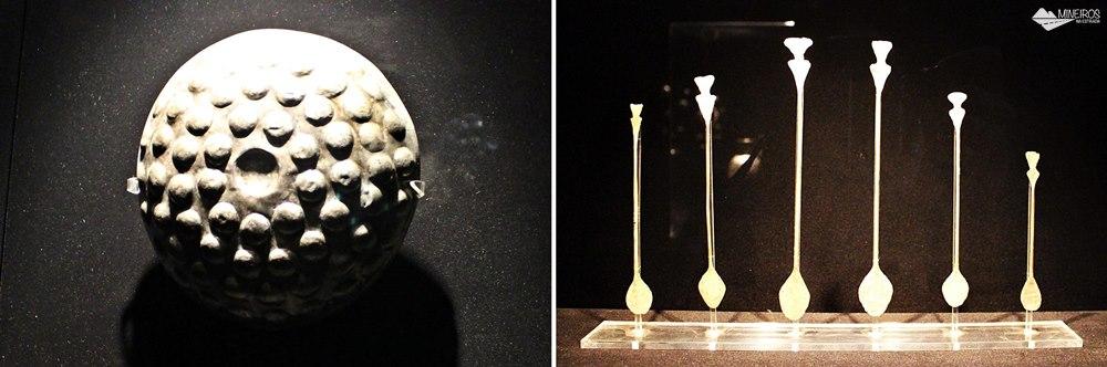 Objetos da Sala da Prata, expostos no Museu de Arte Precolombino, em Cusco.