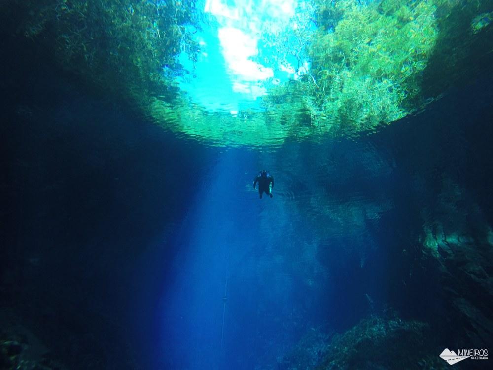 A Lagoa Misteriosa, em Bonito, é uma caverna inundada com águas incrivelmente azuis, e cuja profundidade total ainda é desconhecida.
