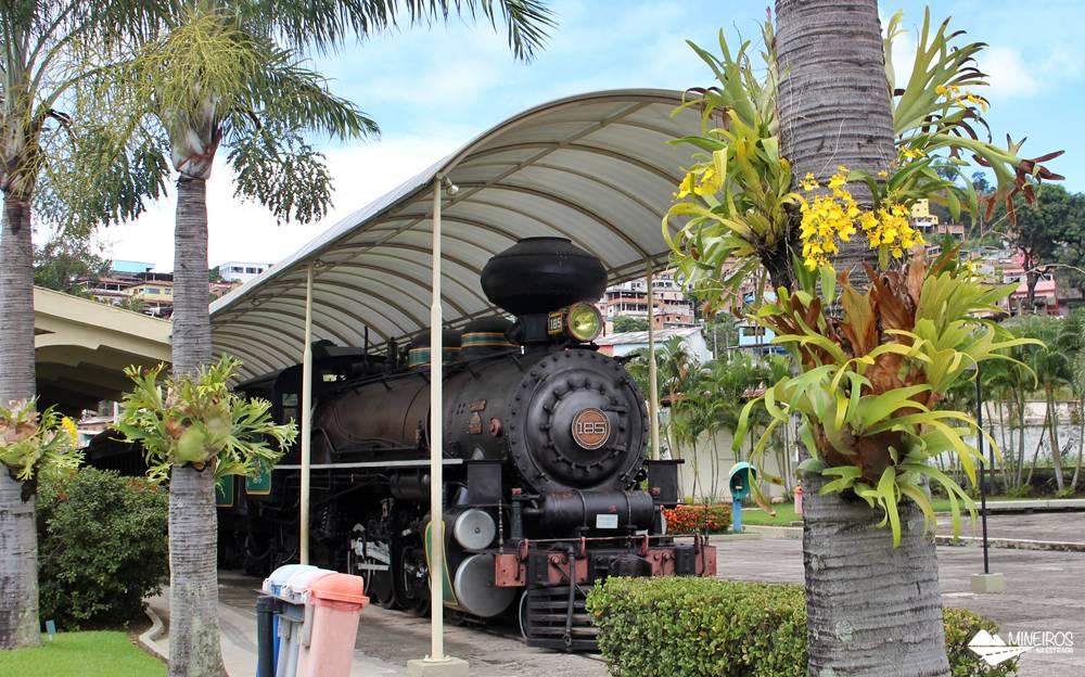 Maria Fumaça em exposição no Museu Vale, em Vila Velha, Espírito Santo. O museu conta a história da Estrada de Ferro Vitória-Minas.
