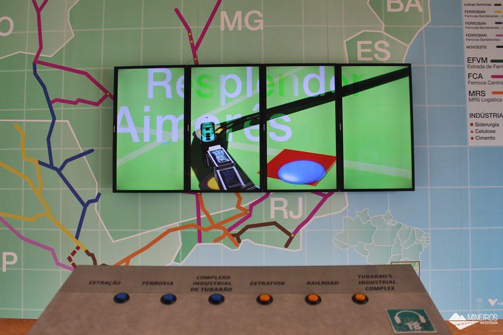 Painel interativo explica como se dá o escoamento de minério pela Estrada de Ferro Vitória-Minas