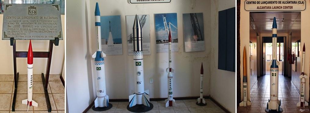 Casa da Cultura Aeroespacial de Alcântara, que expõe réplicas de foguetes.