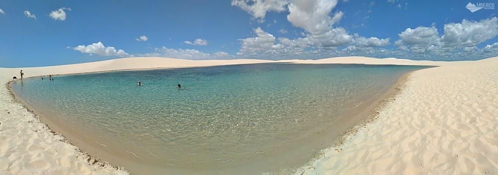 Panorâmica de uma das lagoas do. Parque Nacional dos Lençóis Maranhenses, em Santo Amaro do Maranhão.