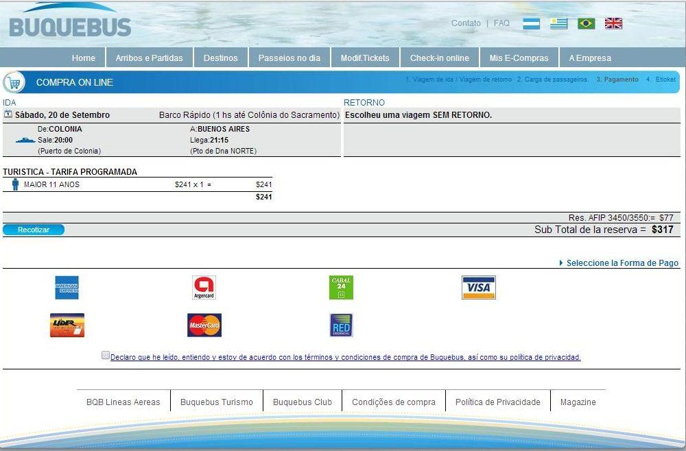 Como comprar passagem no site da Buquebus