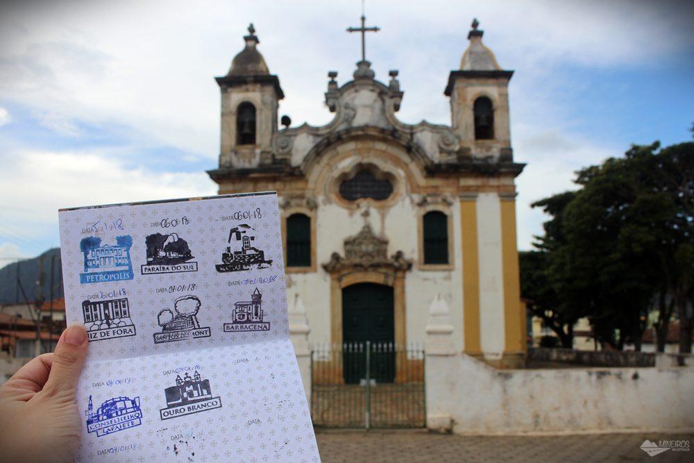 8º carimbo, em Ouro Branco. O pictograma é a Igreja Matriz de Santo Antônio.