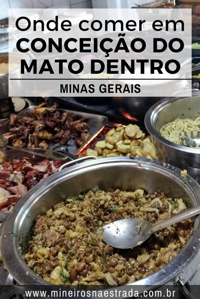 Onde comer em Conceição do Mato Dentro: Opções de restaurante self-service e delivery na Sede e a la carte em Tabuleiro.