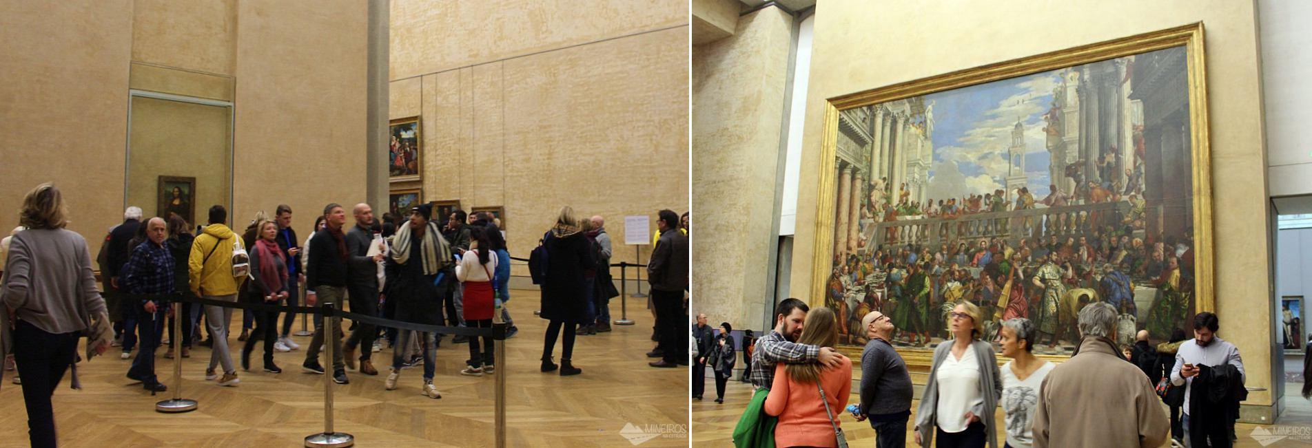 Mona Lisa e o Casamento em Caná, no Museu do Louvre