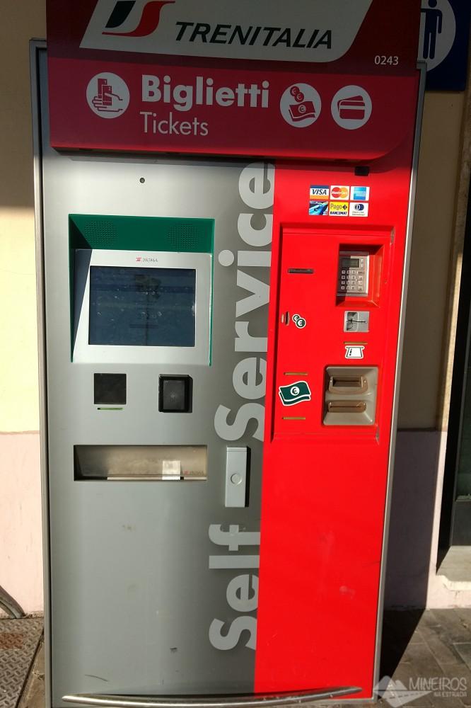 Máquina de bilhetes de trem Itália